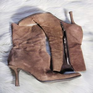 Nine West Brown Suede High Heel Ankle Boots